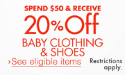 Save 20% on $50 of Baby Clothing & Shoes