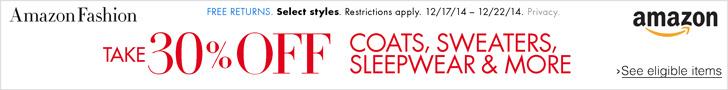 Amazon 30% off coats, sweaters and sleepwear