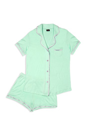 Cosabella Women's Bella Short-Sleeve Cotton Boxer Pajama Set, Moonlight Jade/Frosty Lilac