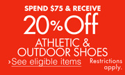 Save 20% on $75 Athletic Shoes
