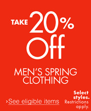 20% Off Men's Spring Clothing