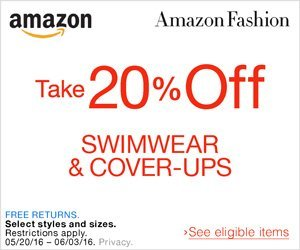 Shop Amazon Fashion - Take 20% Off Women's Swimwear & Cover-Ups