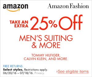 Extra 25% OFF Men's Suits & More
