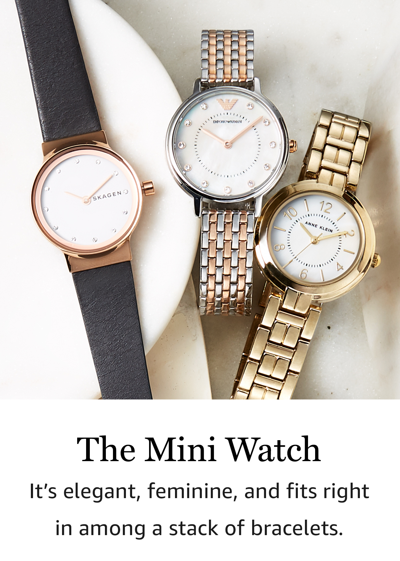 the mini watch itu0027s elegant feminine and fits right in among a stack
