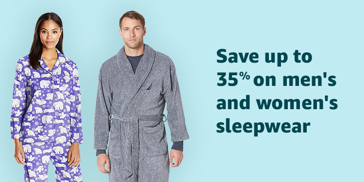 Save up to 35% on men's and women's sleepwear