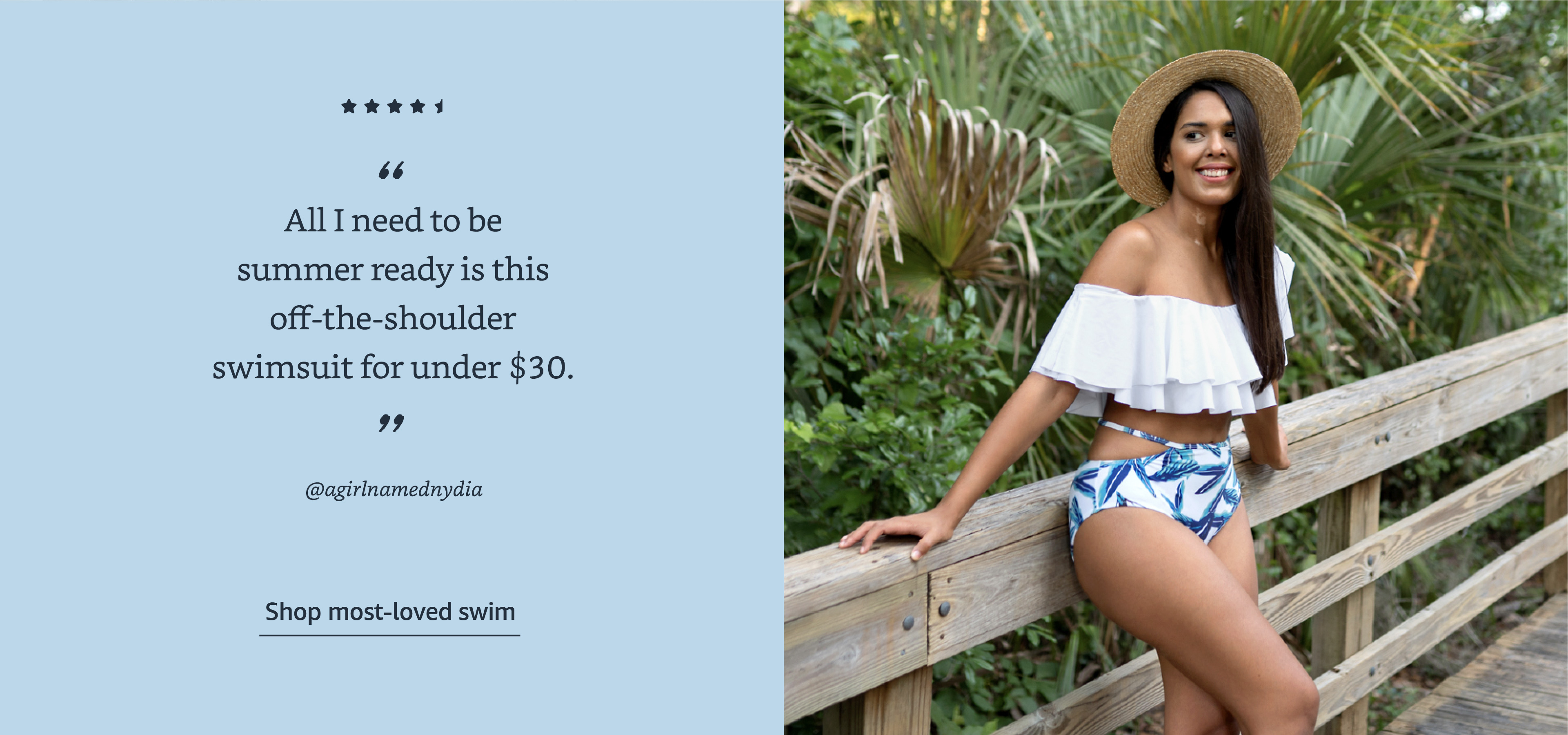 All I need to be summer ready is this off-the-shoulder swimsuit for under $30.