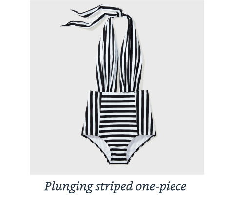 Plunging striped one-piece