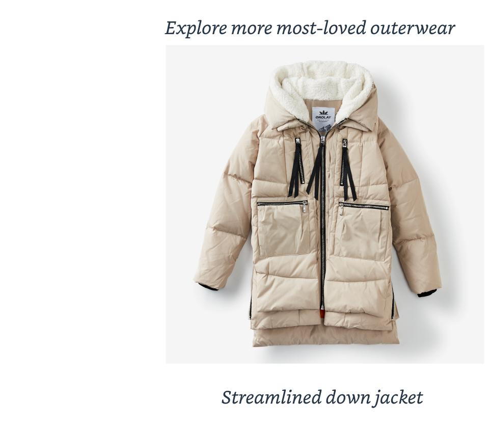 Streamlined down jacket