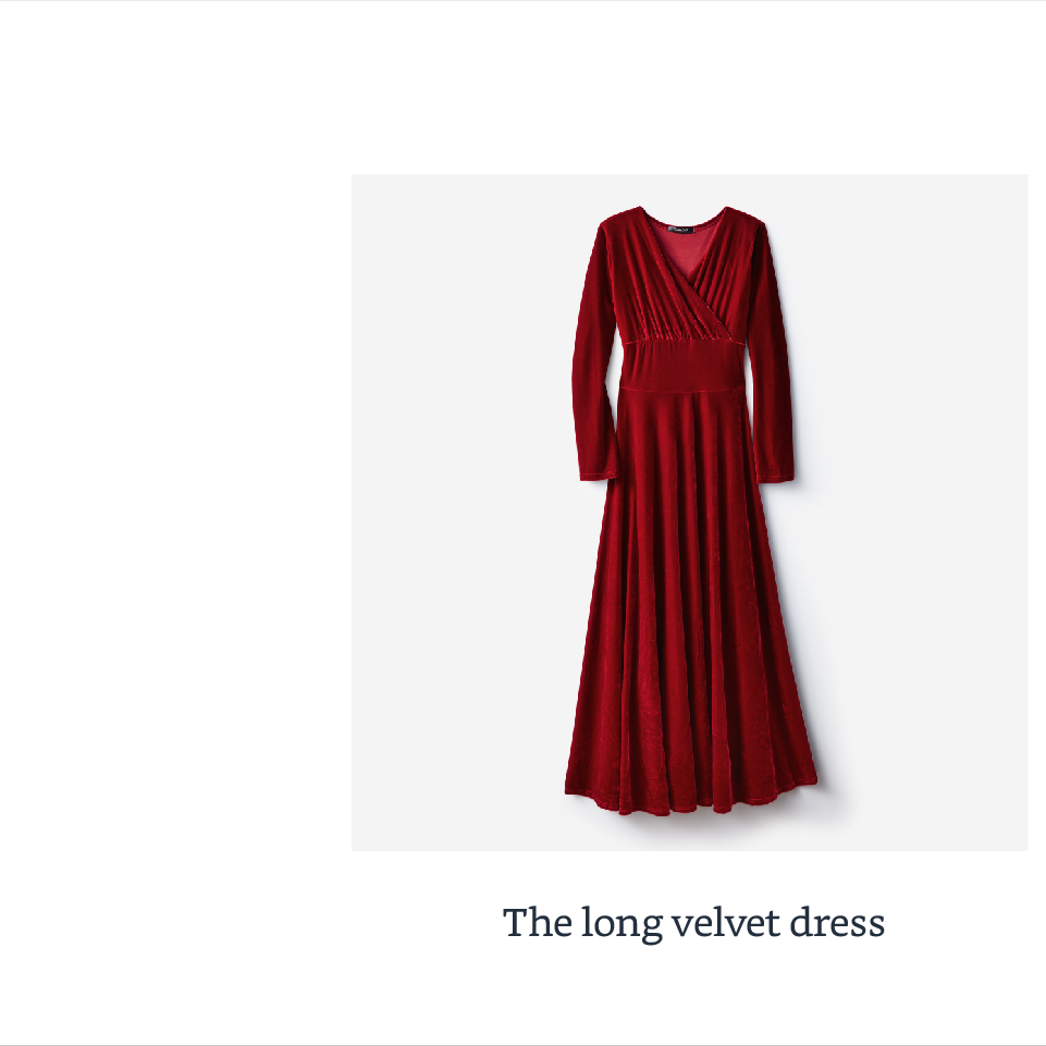 The long velvet dress
