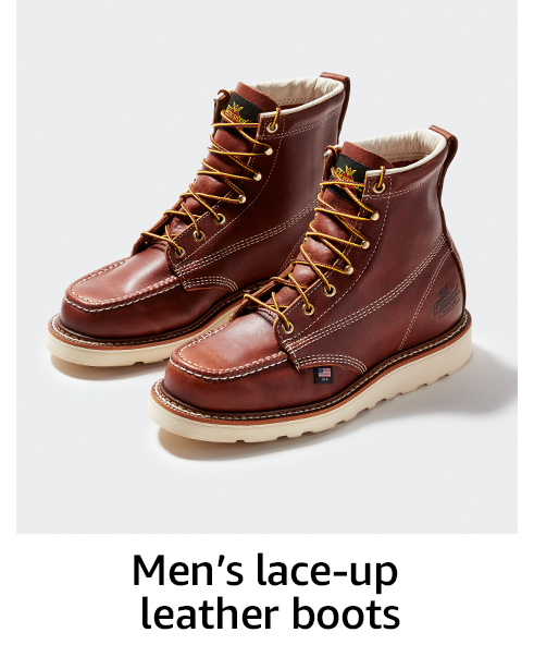 Men's lace-up leather boots