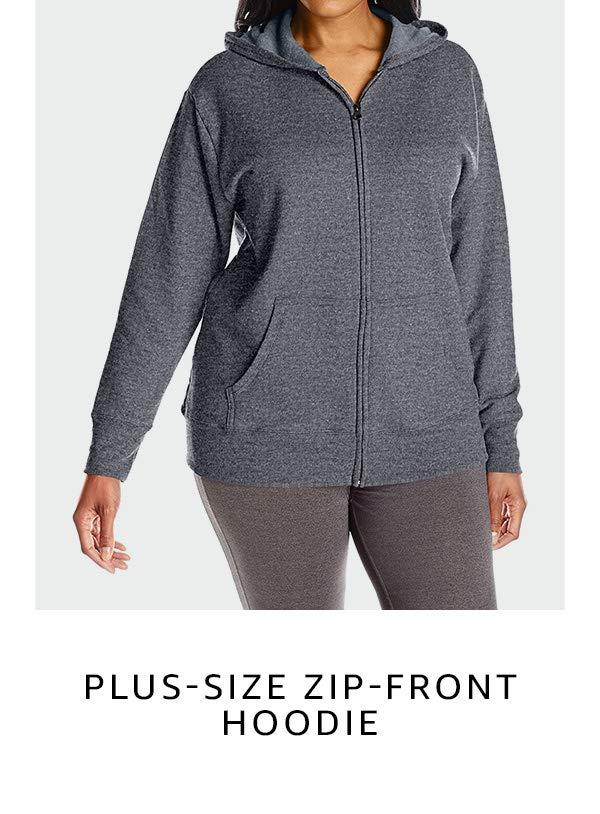 Plus-size zip-front hoodie
