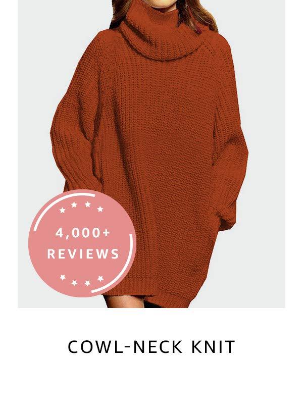 Cowl-neck knit tunic
