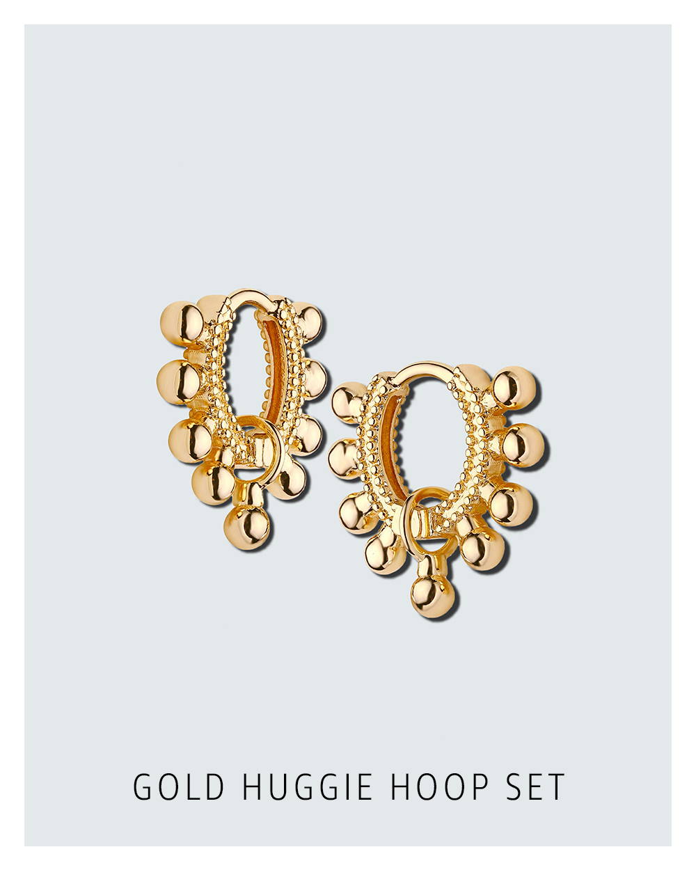 Gold huggie hoop set