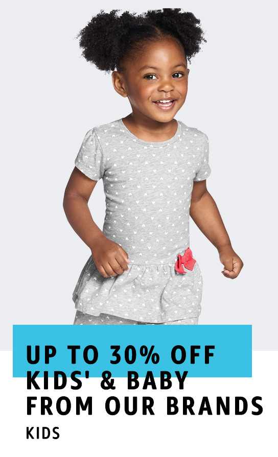Up to 30% off Kids' and Baby Clothing