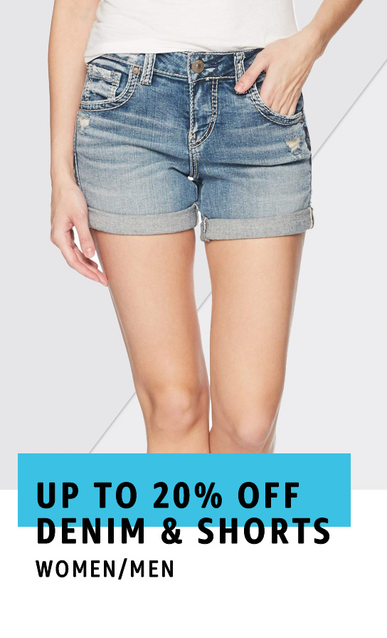 Up to 20% off denim and shorts