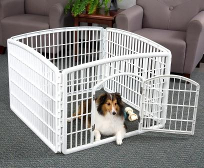 Indoor Dog Pen Plastic with 4 Panels Outdoor Pet Safe Convenient ...