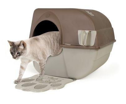 Omega Paw Self-Cleaning Litter Box, Regular, Taupe Omega Cat Using Litter Box