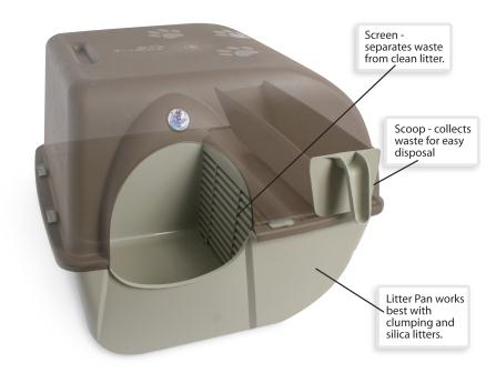 Omega Paw Self-Cleaning Litter Box, Regular, Taupe Omega Diagram Translucent Litter Box