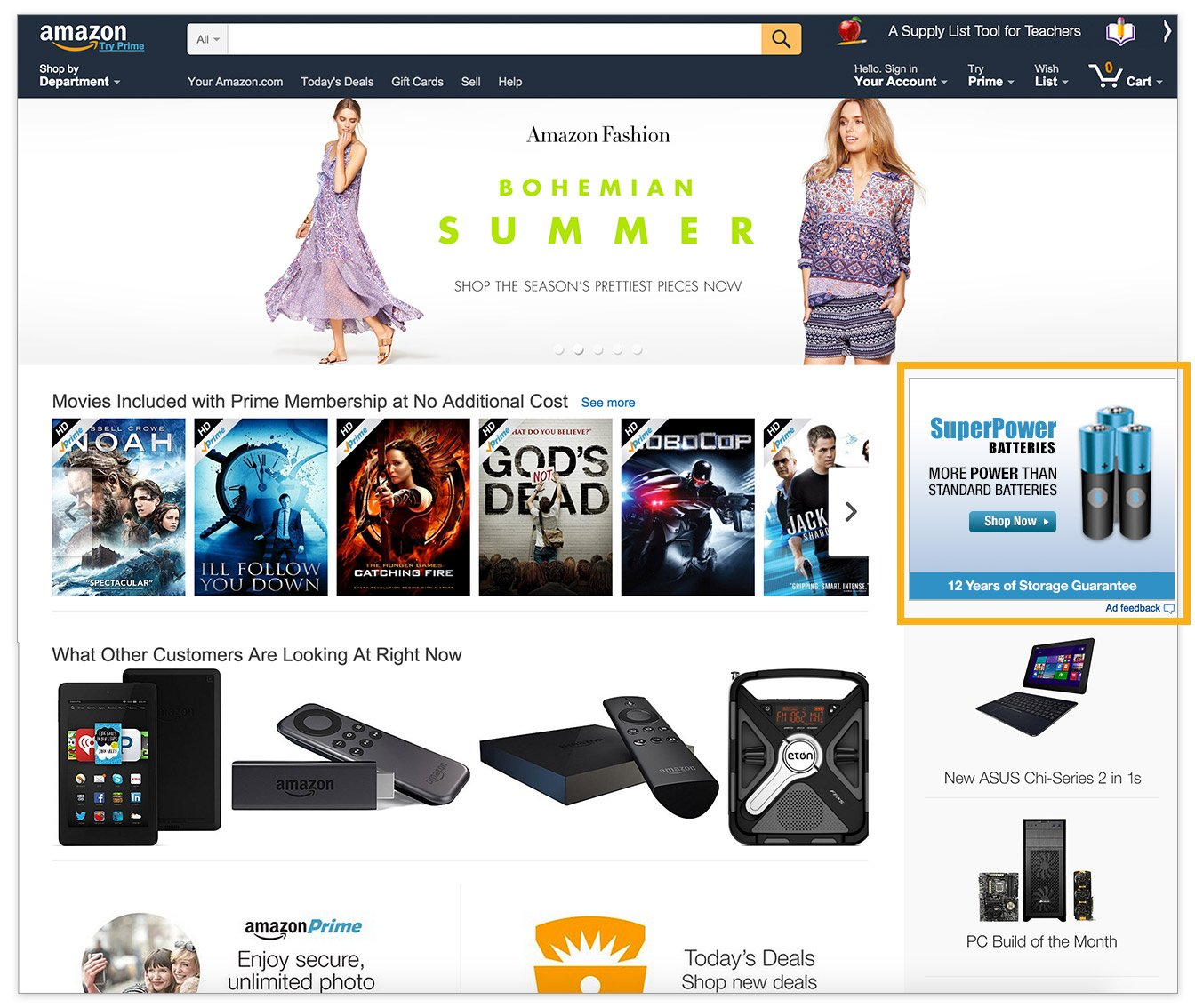 Medium Rectangle on the Amazon home page, 300x250