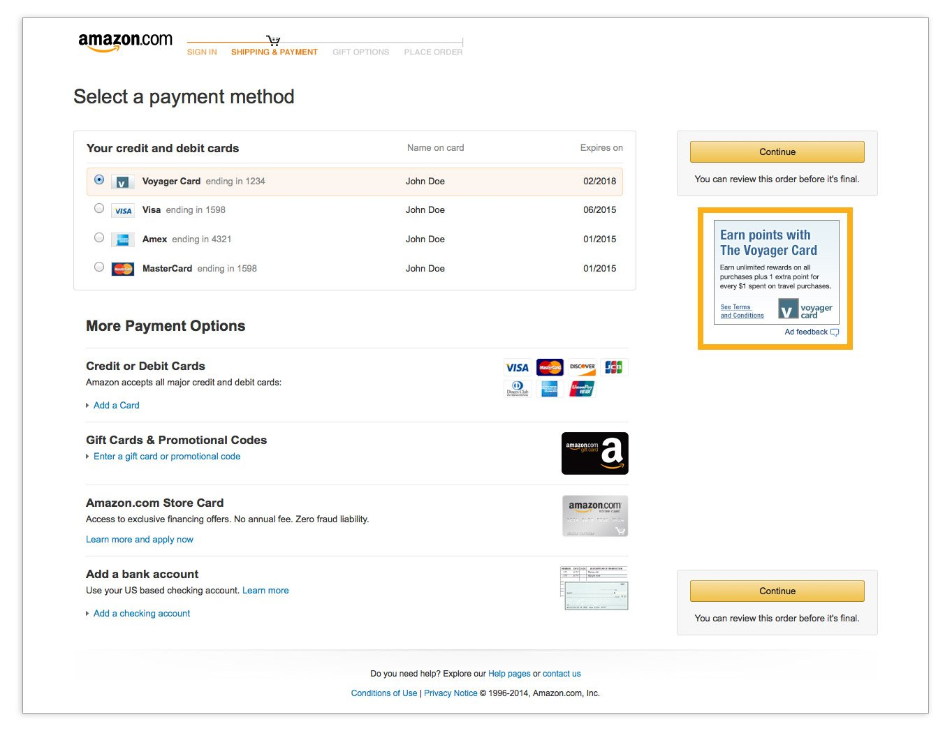 Payment selection ad on the manage your payment methods page, 180x150