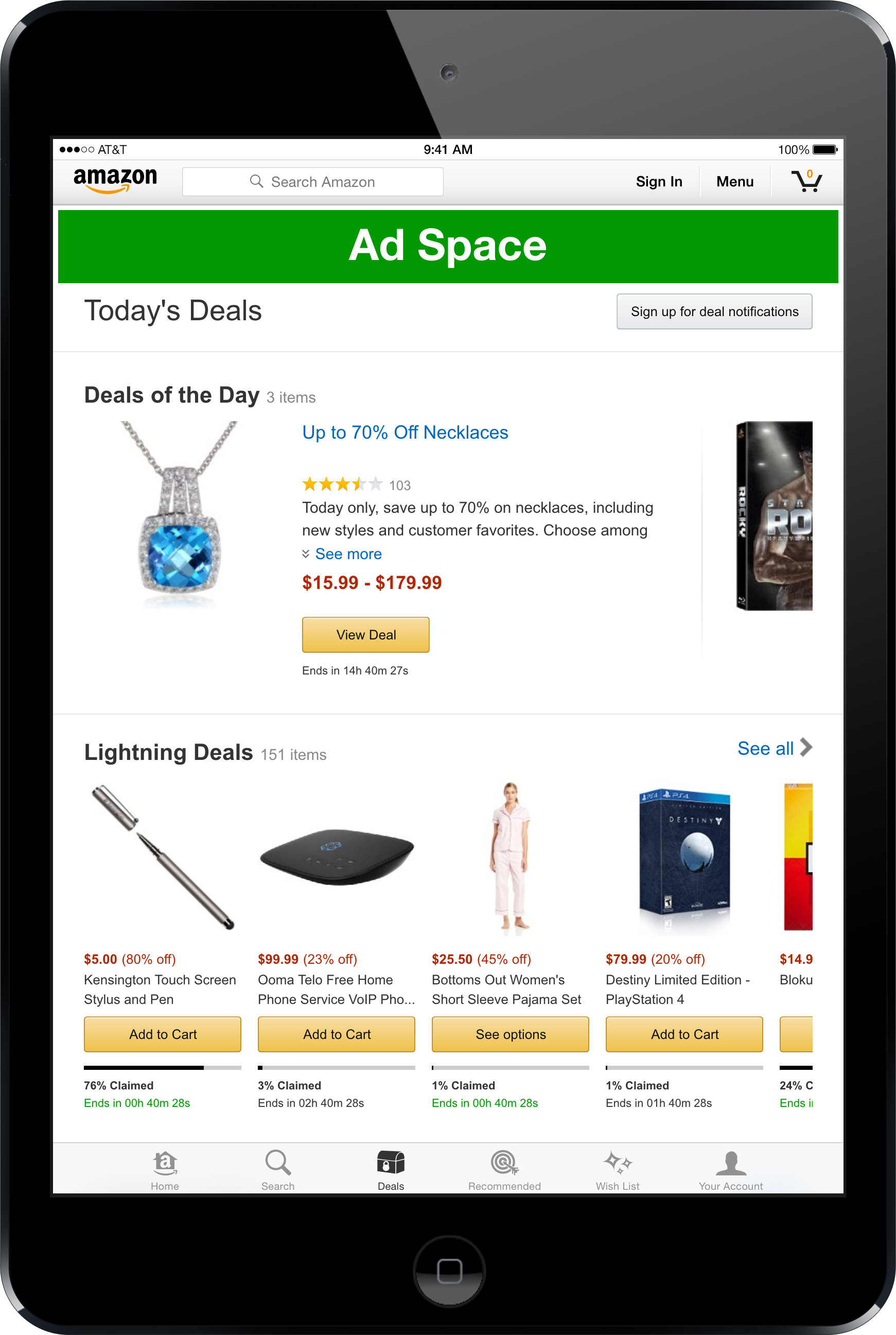 iPad Shopping App Deals Page 1940 x 180 px