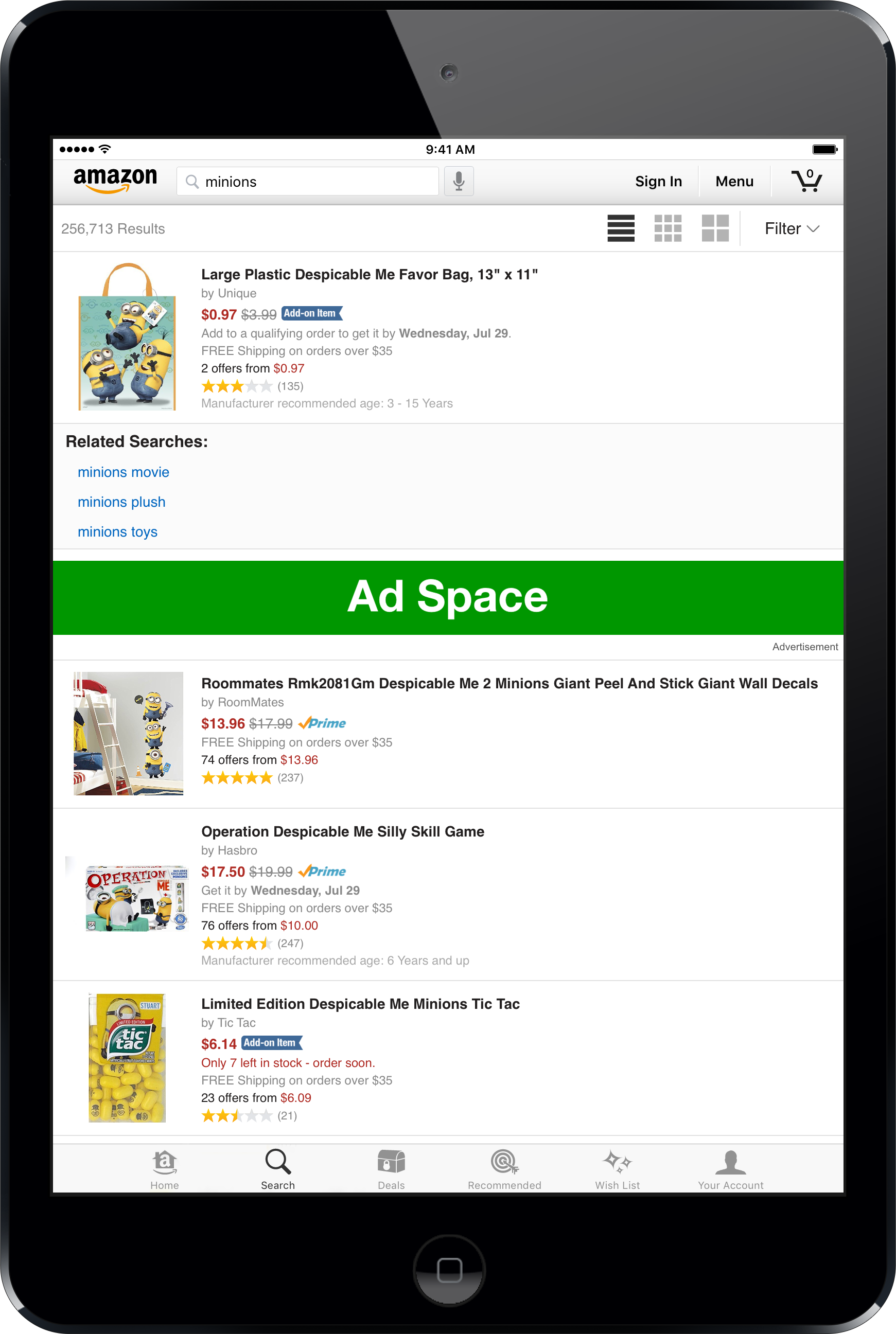 iPad Shopping App Search Page 1940 x 180 px