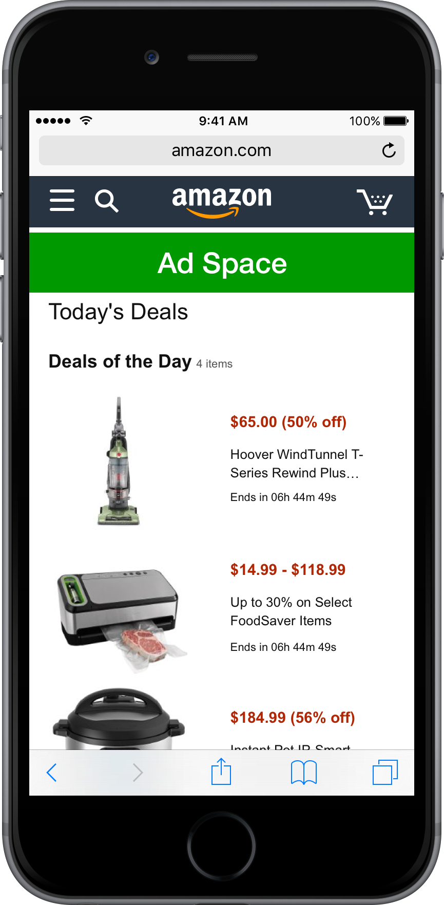 Mobile Web Deals Page 640 x 100 px