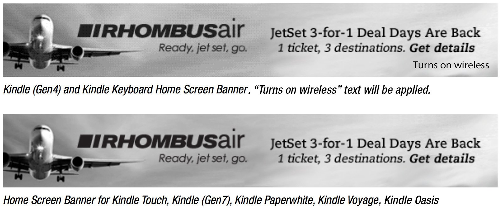 Kindle Home Screen Banners CTA and