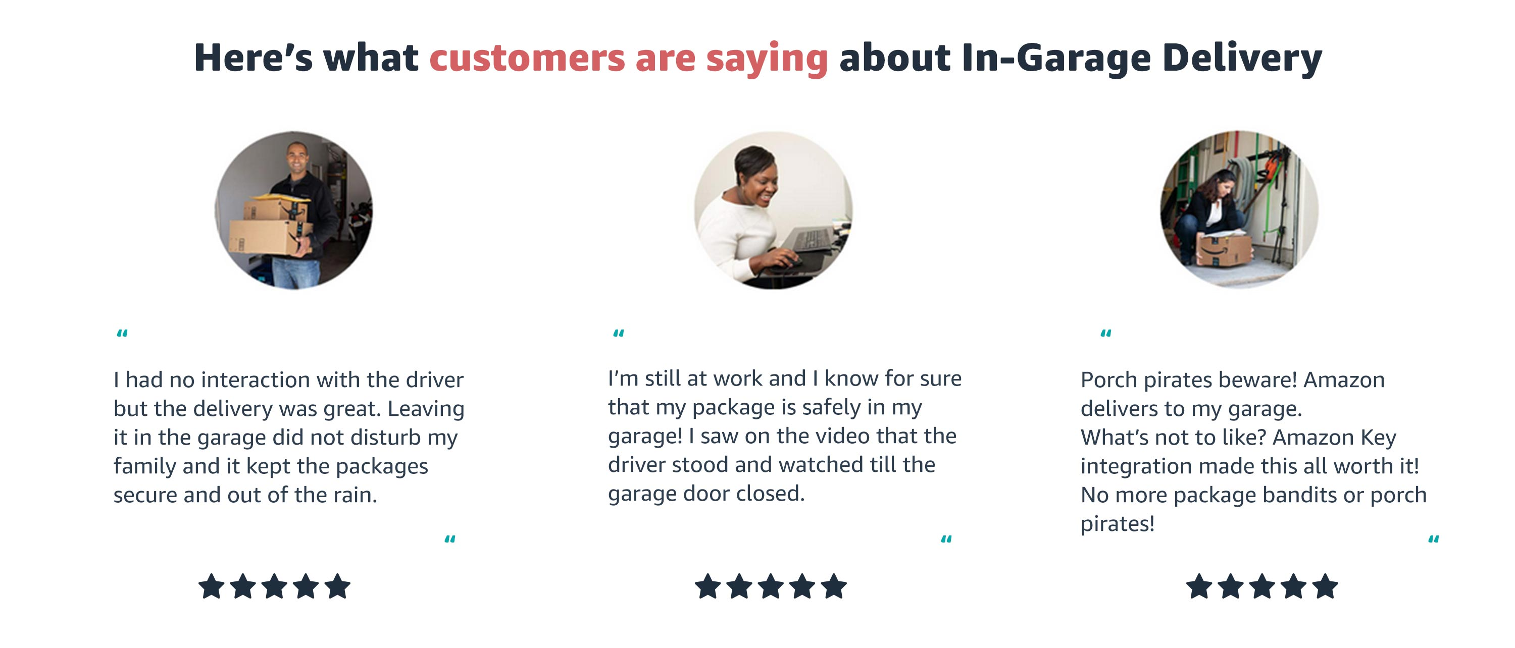 "Here's what customers are saying about In-Garage Delivery. ""Did not disturb my family and it kept the packages secure."""
