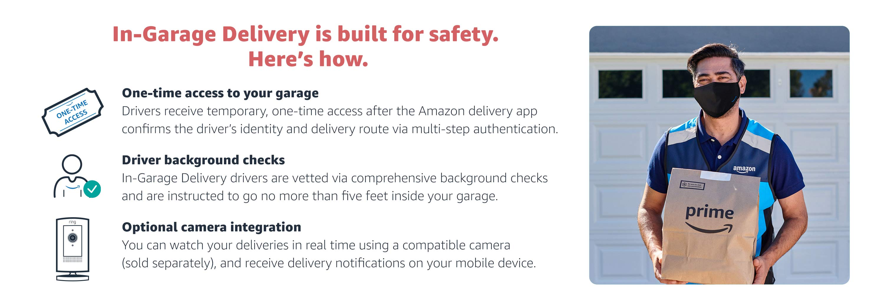 In-Garage Delivery is built for safety with one-time access to your garage and driver background checks.