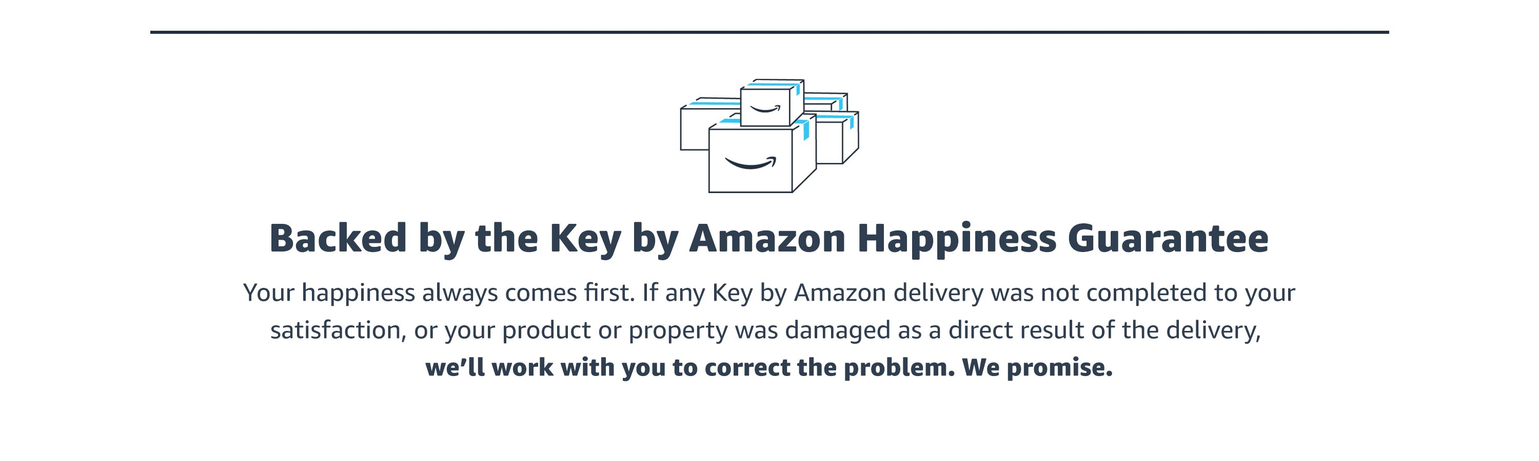 Backed by the Key by Amazon Happieness Guarantee