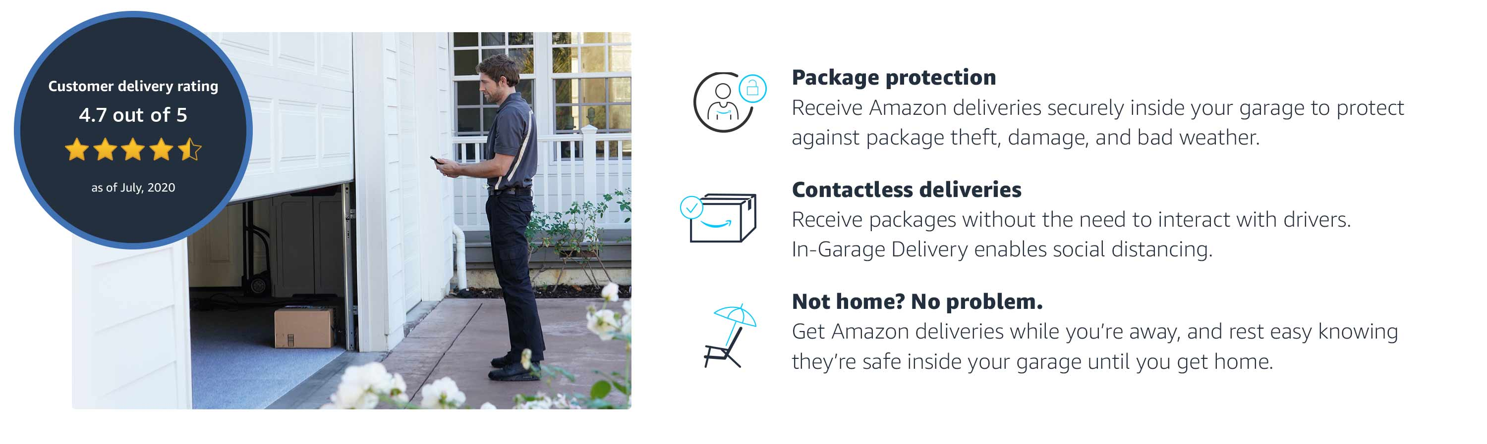 Benefits include package protection, contactless deliveries, and deliveries while you're away.