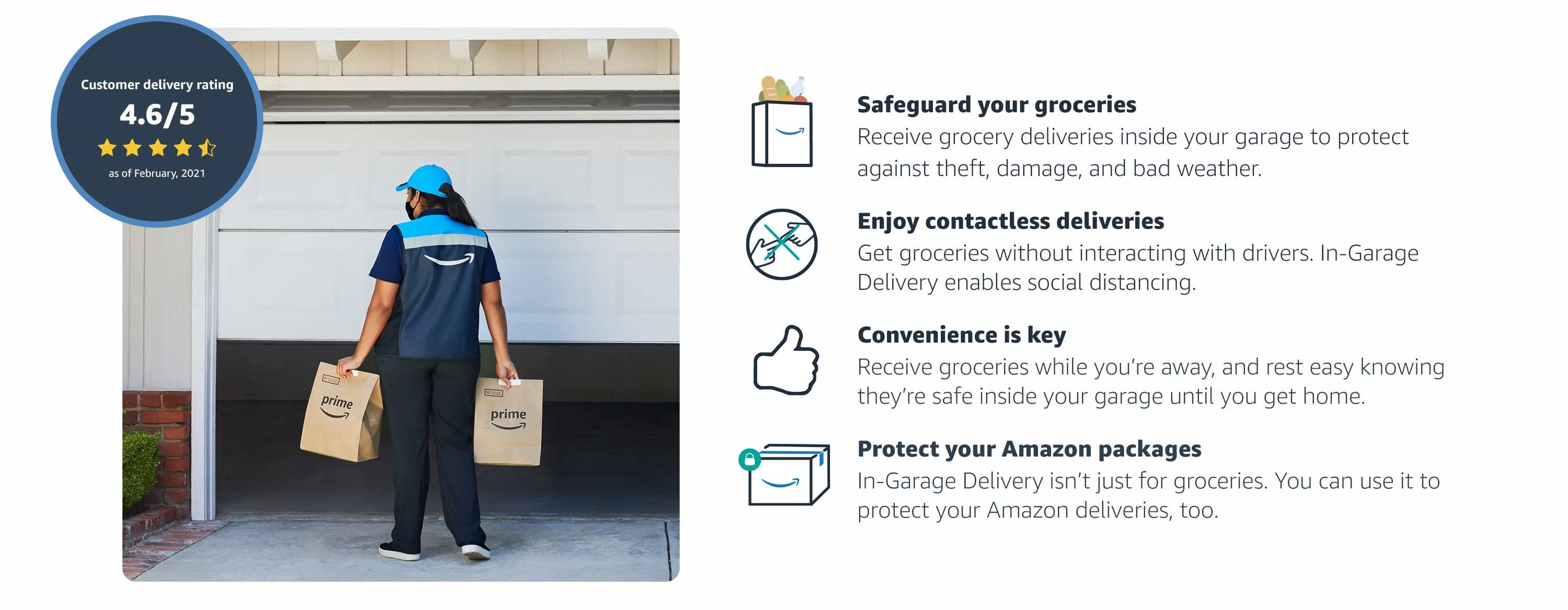 Safeguard your groceries. Enjoy contactless deliveries. Convenience is Key. Protect your Amazon packages too.