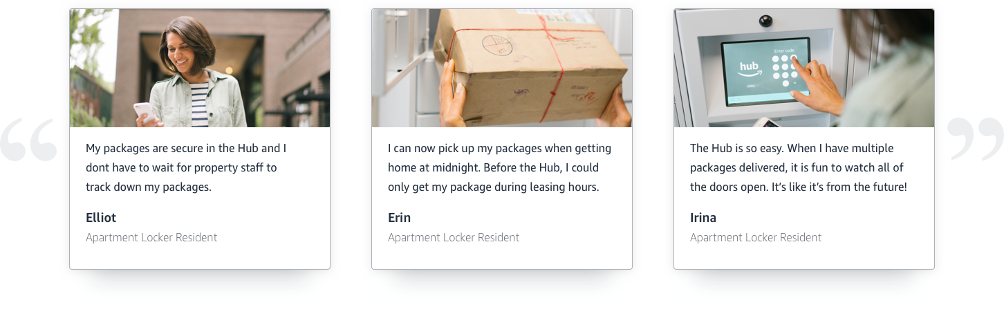 "Testimonial From Resident saying, ""My packages are secure in the Hub."""