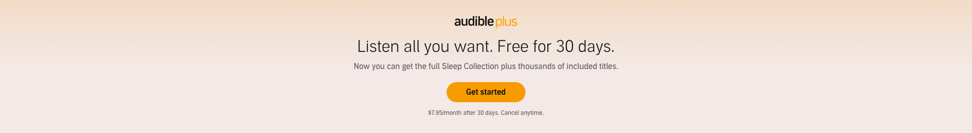 Audible Plus: Listen all you want. Free for 30 days. Get started now.
