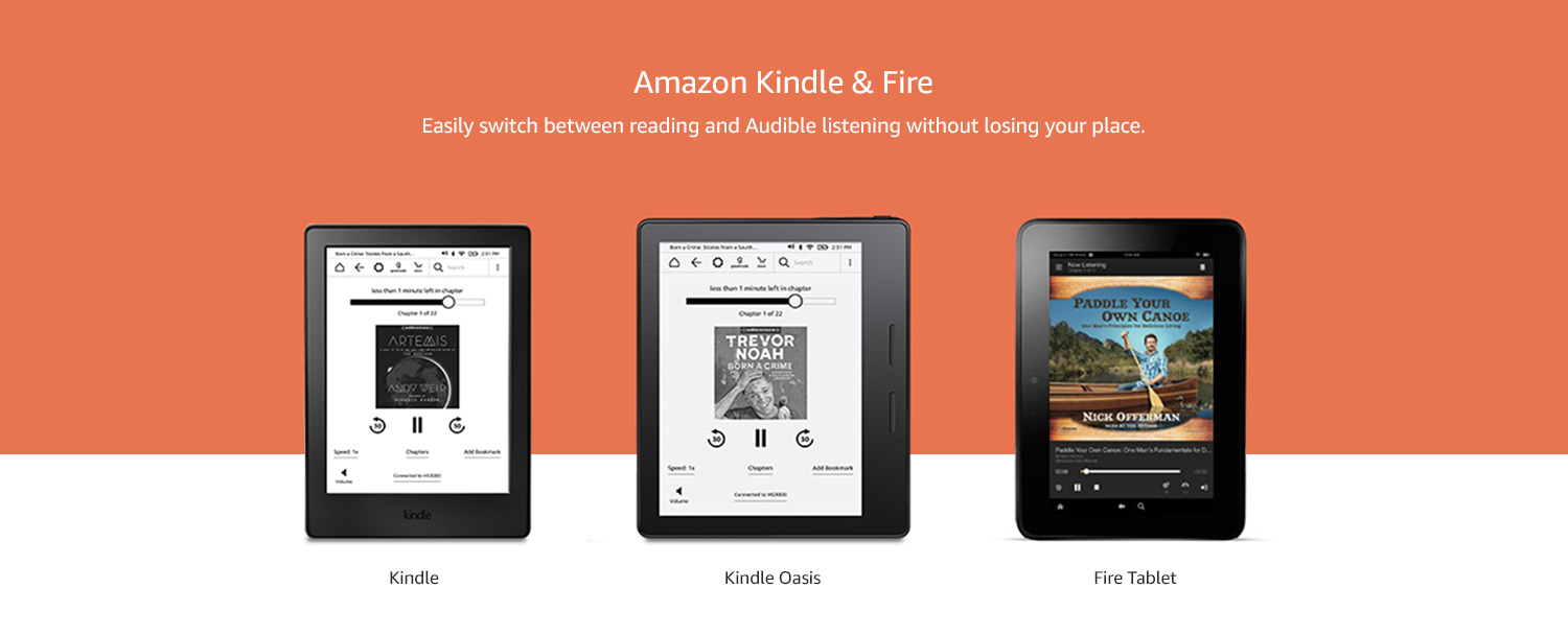 Amazon Kindle & Fire - Easily switch between reading and Audible listening without losing your place.