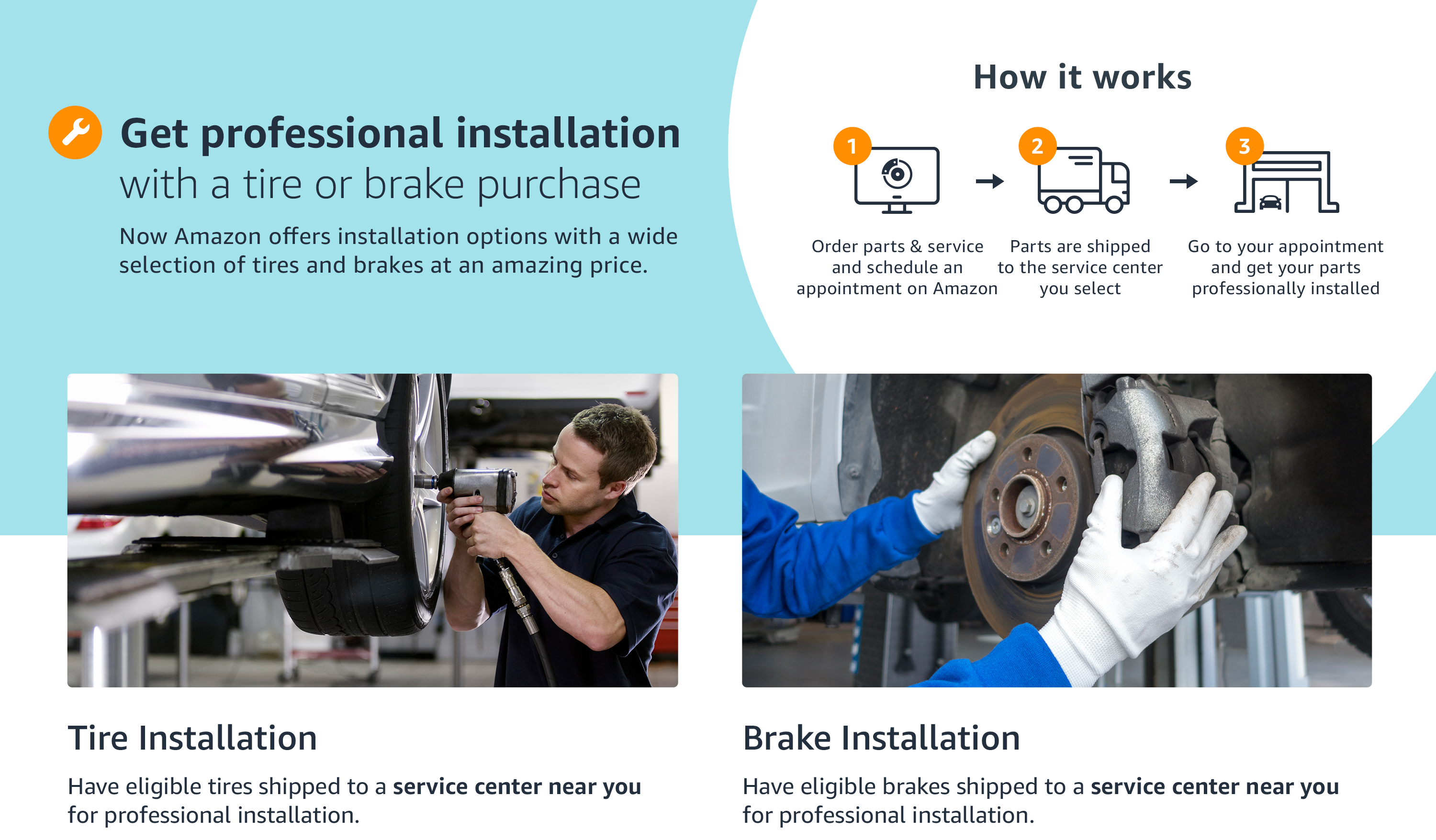 get professional installation with tire or brake purchase