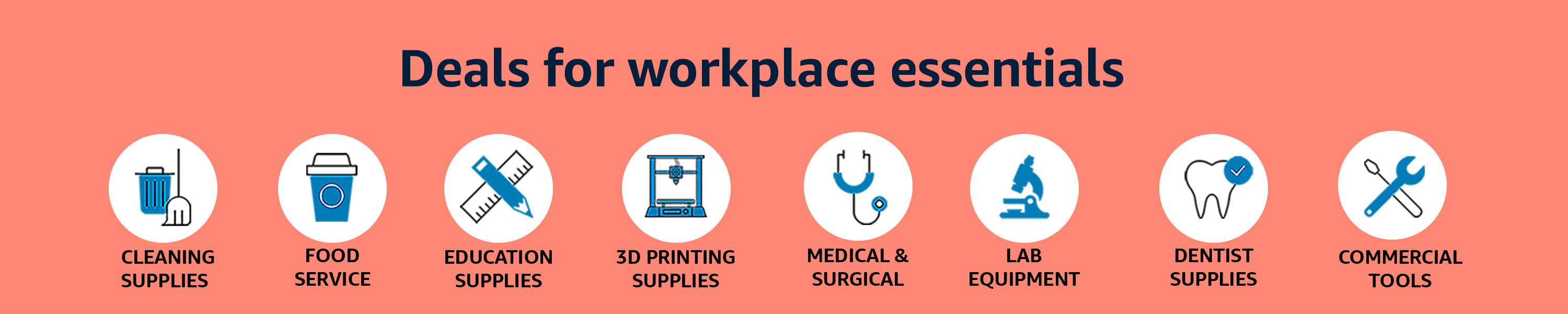 Deals on workplace essentials. Cleaning supplies, food service, education supplies, and more