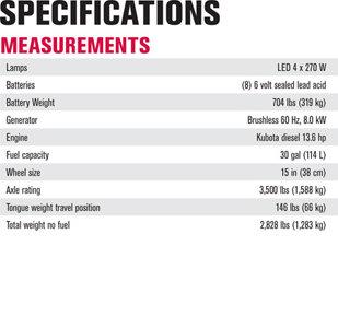 Terex AL-5L LED Light Tower Specifications