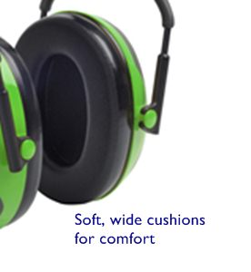 Soft, wide cushions help seal out noise