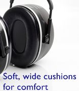 Soft cushions seal out noise