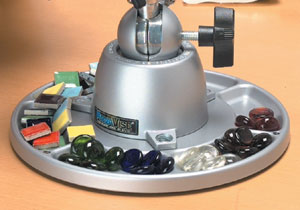 The 312 parts tray base mount included with the 350 multi-purpose work center filled with items