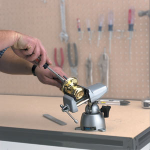 Using the panavise 300 standard base along with the 303 standard head to repair a door knob