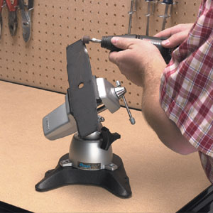 PanaVise 308 weighted base mount anchoring a vise holding a rotary blade
