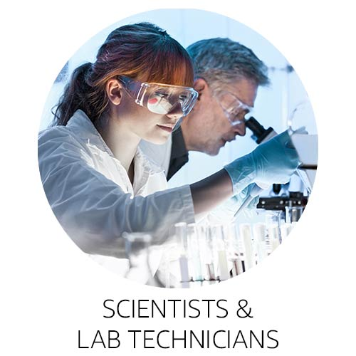Scientists and lab technicians