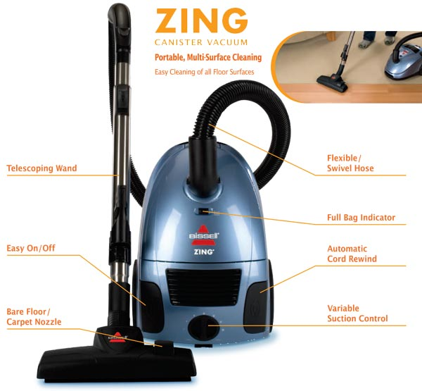 Amazon.com - Bissell Zing Bagged Canister Vacuum, 22Q3