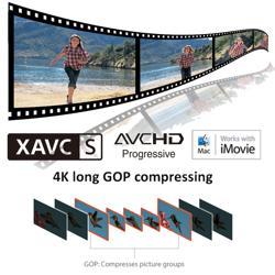 Versatile shooting w/ XAVC S3, AVCHD and MP4 codecs