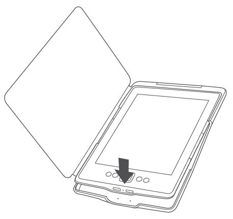 Image displaying how to insert Kindle into the Kindle Lighted Leather Cover
