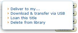 Screenshot of download and transfer via USB options in Manage Your Kindle