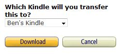Description: Select which kindle to transfer the file to